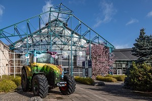 TRACTOR IN FRONT OF THE MUSEUM OF AGRICULTURE, LE COMPA, CHARTRES, FRANCE