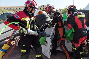 DEMONSTRATION DE TYPE CHALLENGE NATIONAL DE SECOURS ROUTIER, WORLD RESCUE CHALLENGES, AJACCIO, CORSE DU SUD, FRANCE