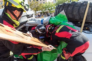 DEMONSTRATION DE TYPE CHALLENGE NATIONAL DE SECOURS ROUTIER, WORLD RESCUE CHALLENGES AJACCIO, CORSE DU SUD, FRANCE